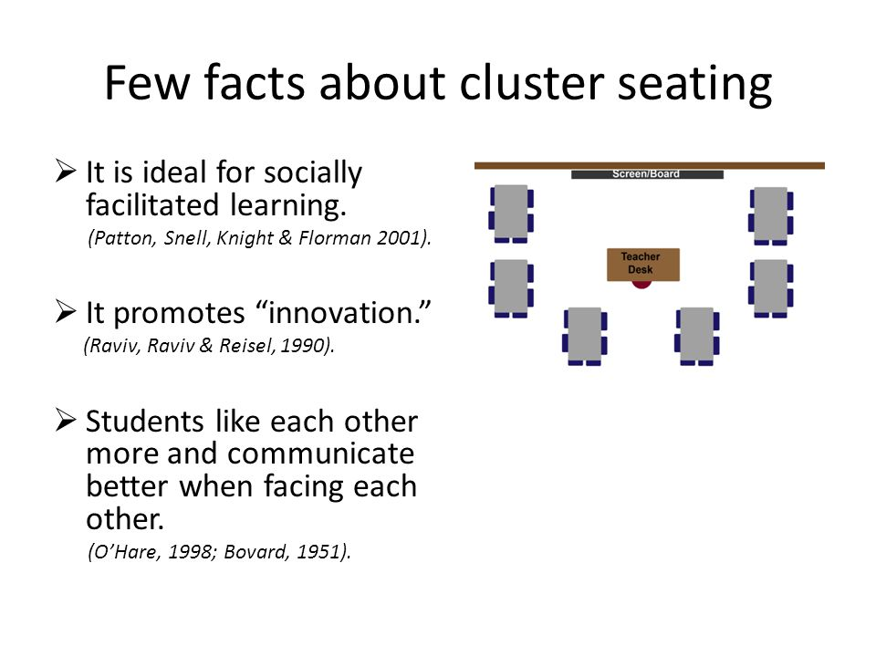 Few facts about cluster seating