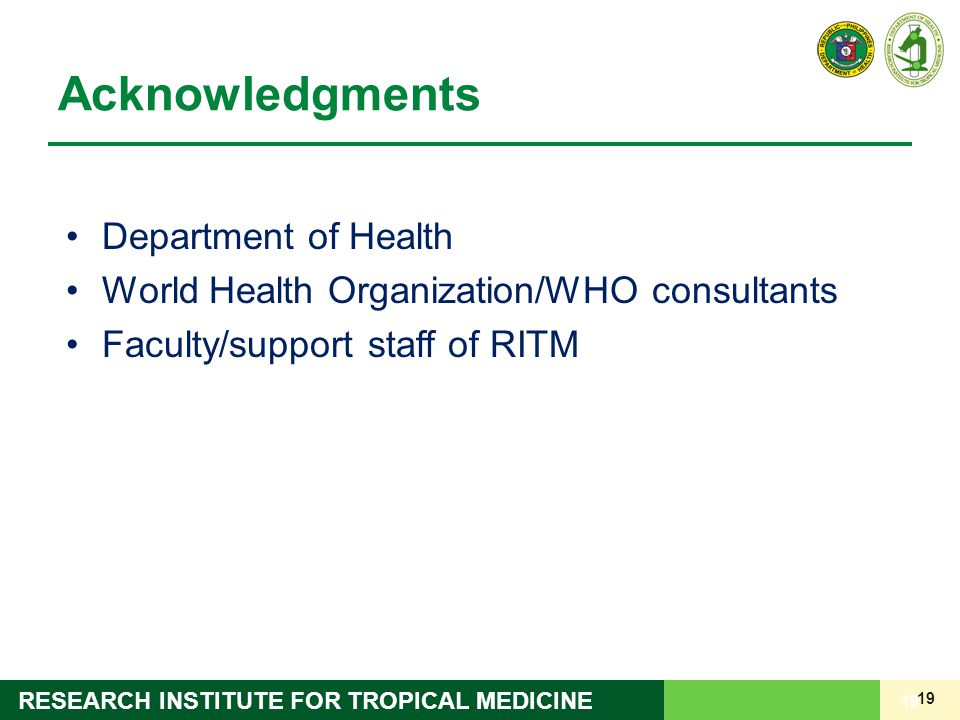 Acknowledgments Department of Health