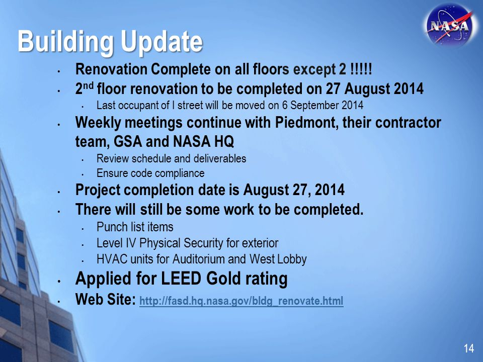 Building Update Applied for LEED Gold rating