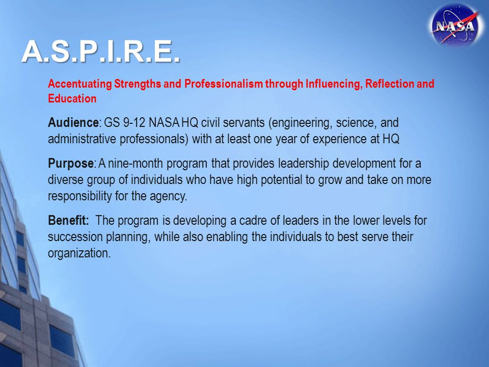A.S.P.I.R.E. Accentuating Strengths and Professionalism through Influencing, Reflection and Education.
