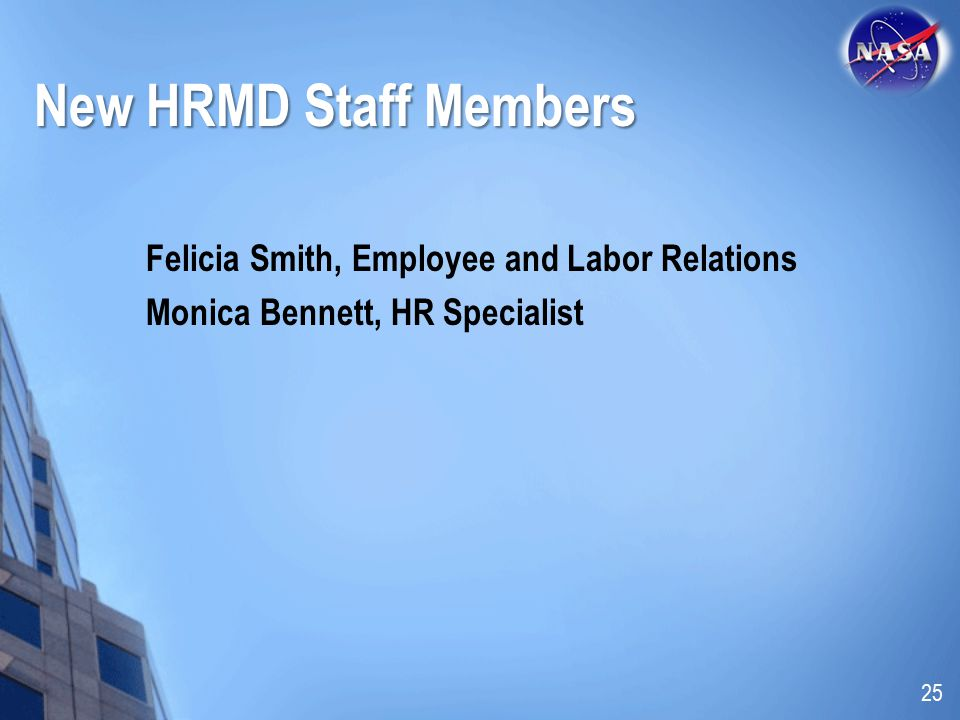 New HRMD Staff Members Felicia Smith, Employee and Labor Relations