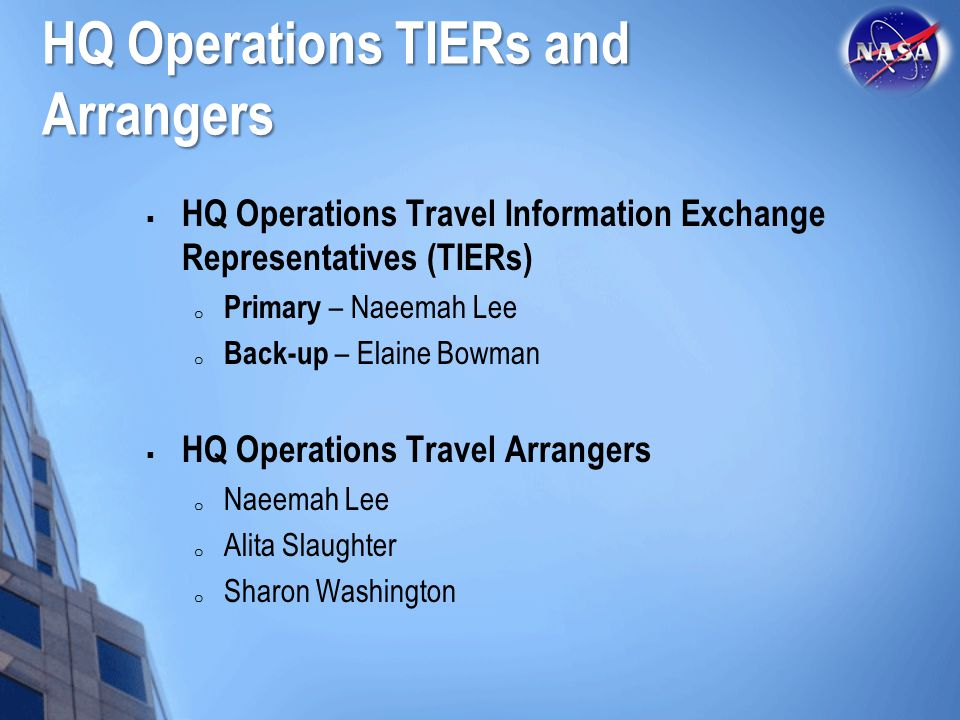 HQ Operations TIERs and Arrangers