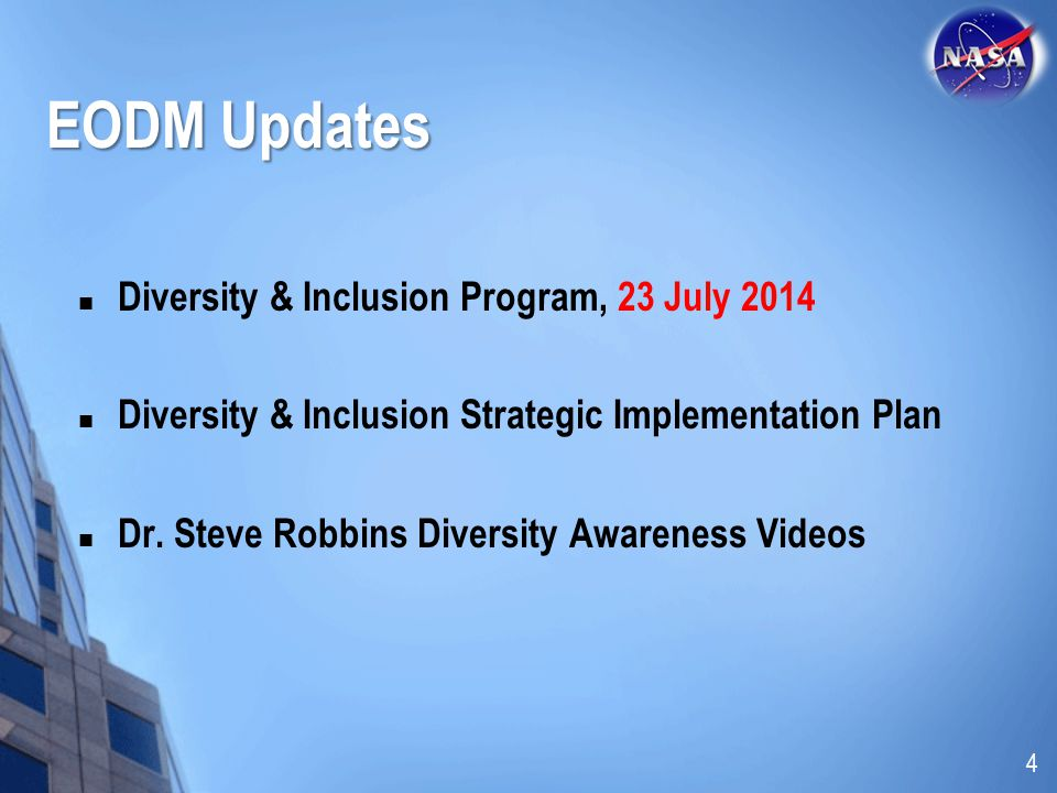 EODM Updates Diversity & Inclusion Program, 23 July 2014