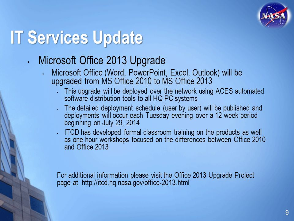 IT Services Update Microsoft Office 2013 Upgrade