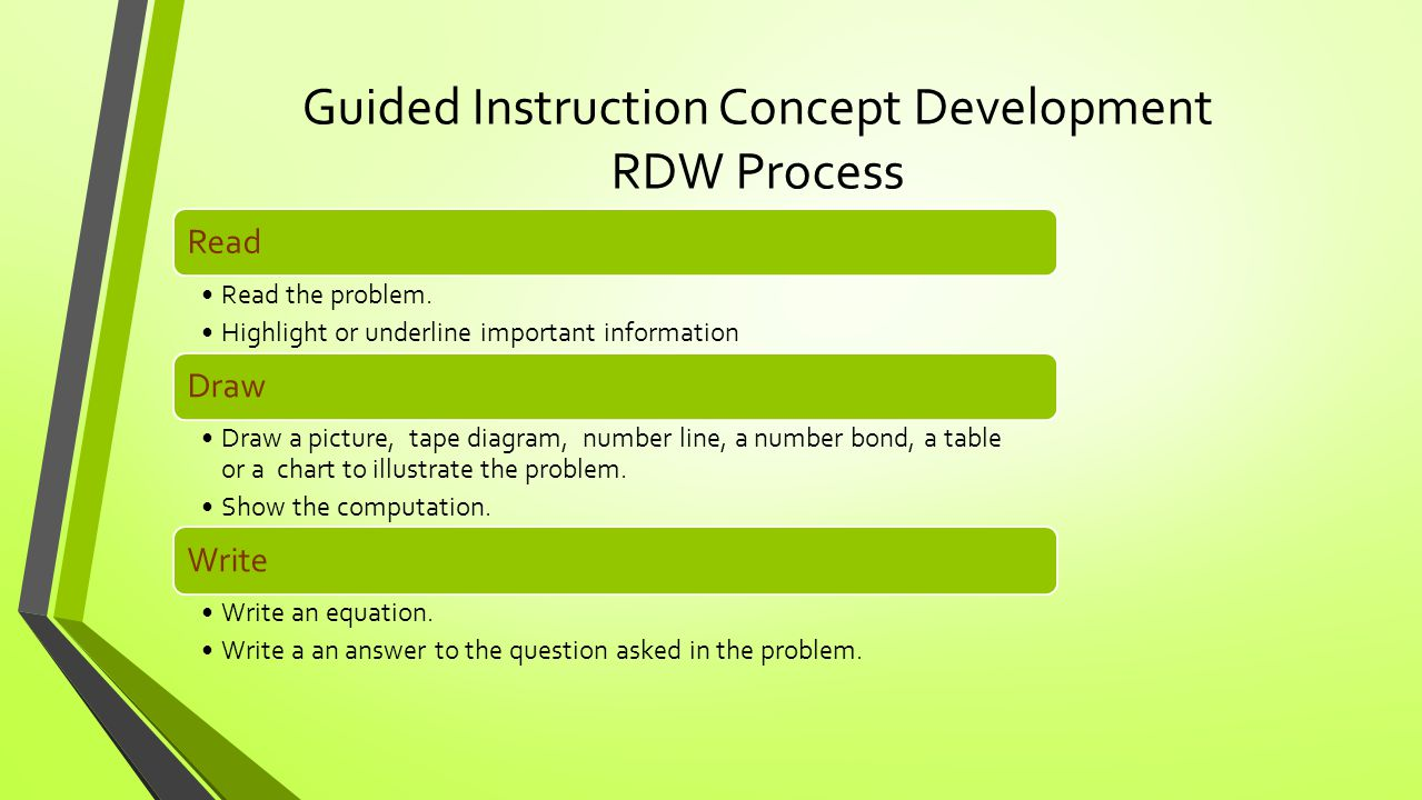 Guided Instruction Concept Development RDW Process