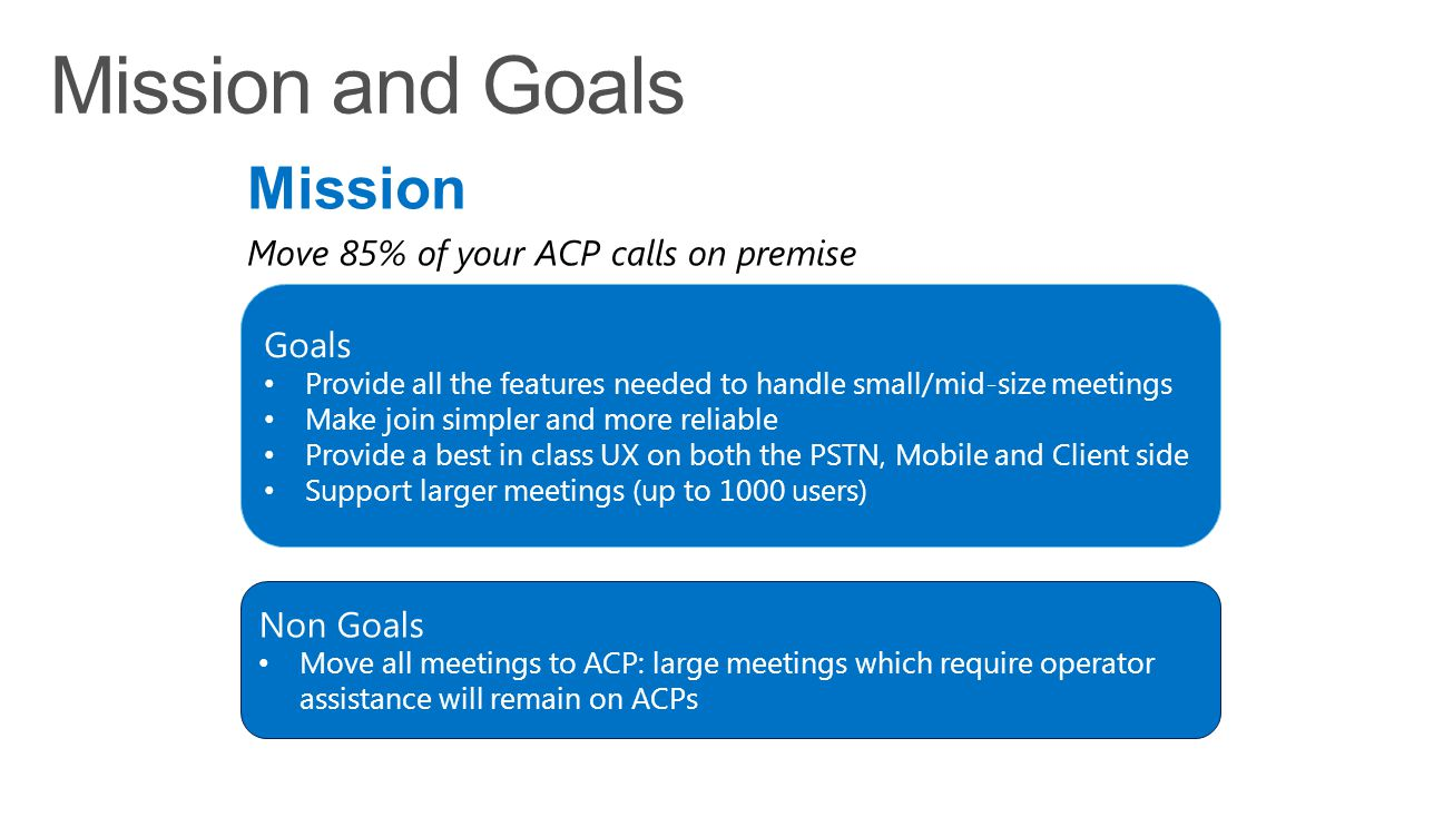 Mission and Goals Mission Move 85% of your ACP calls on premise Goals