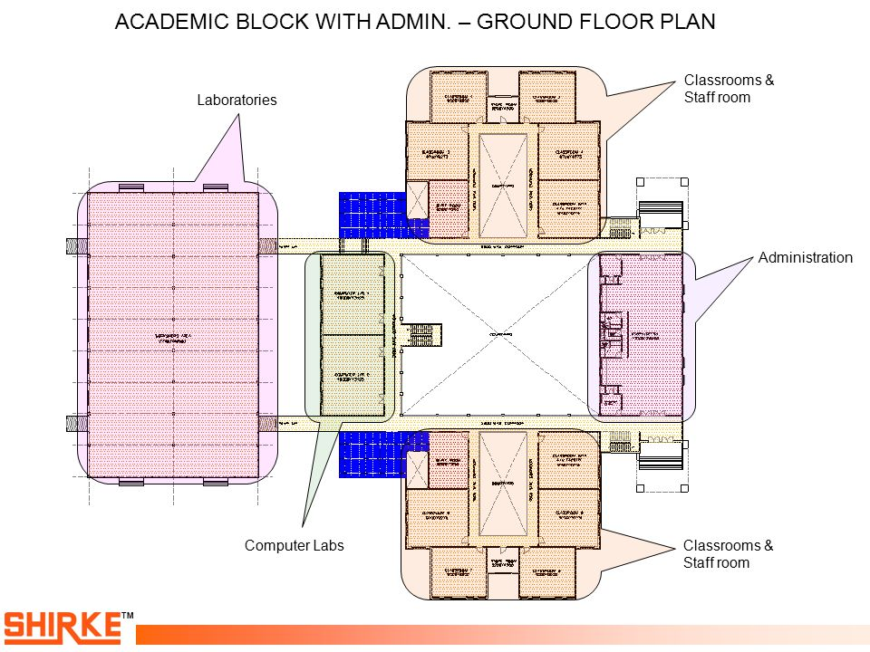 ACADEMIC BLOCK WITH ADMIN. – GROUND FLOOR PLAN