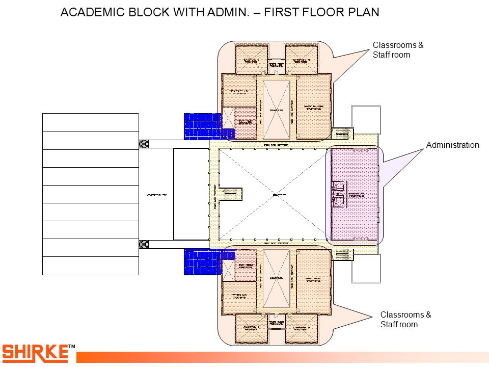 ACADEMIC BLOCK WITH ADMIN. – FIRST FLOOR PLAN