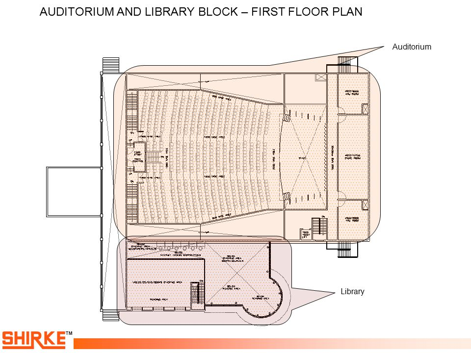 AUDITORIUM AND LIBRARY BLOCK – FIRST FLOOR PLAN