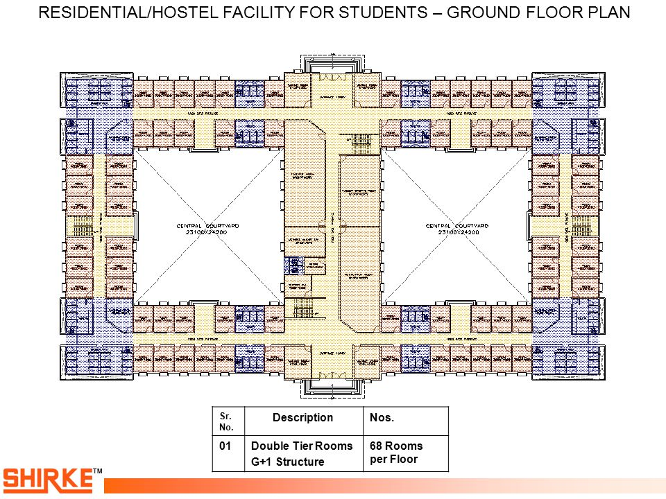RESIDENTIAL/HOSTEL FACILITY FOR STUDENTS – GROUND FLOOR PLAN