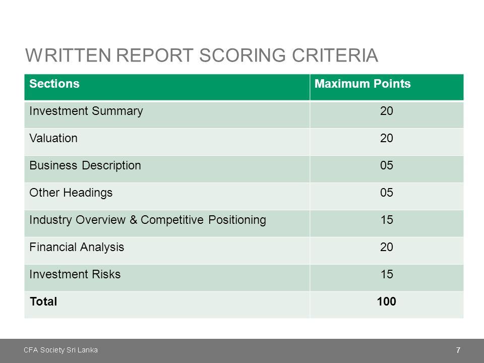 Written report scoring criteria