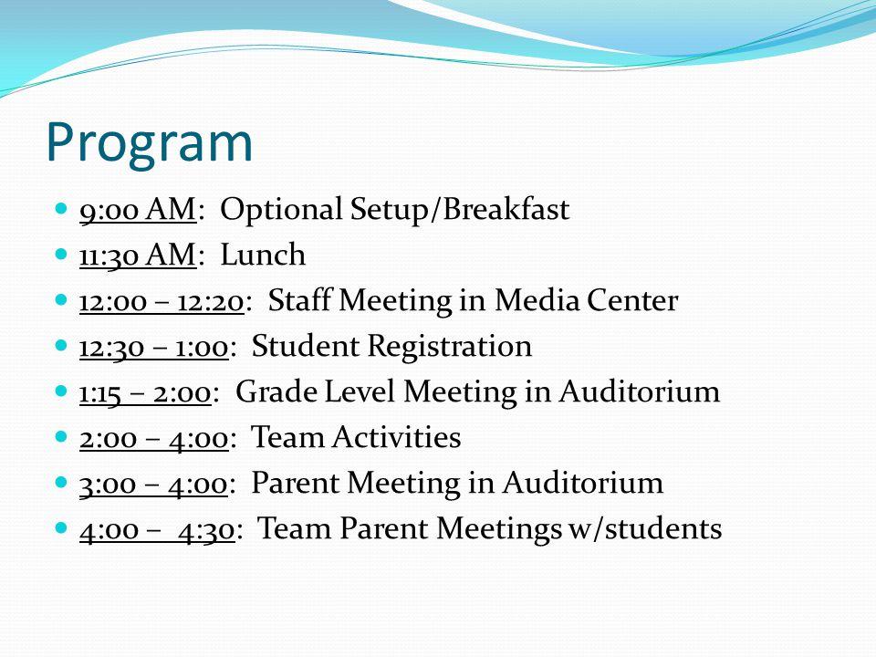 Program 9:00 AM: Optional Setup/Breakfast 11:30 AM: Lunch