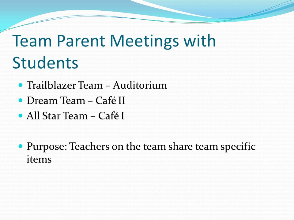 Team Parent Meetings with Students