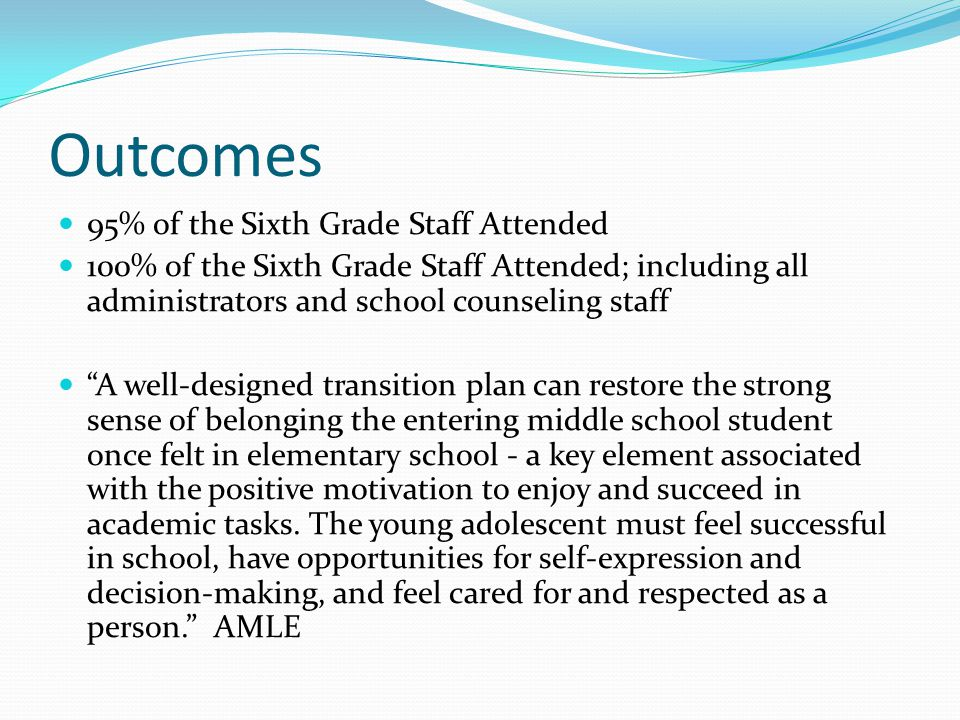 Outcomes 95% of the Sixth Grade Staff Attended