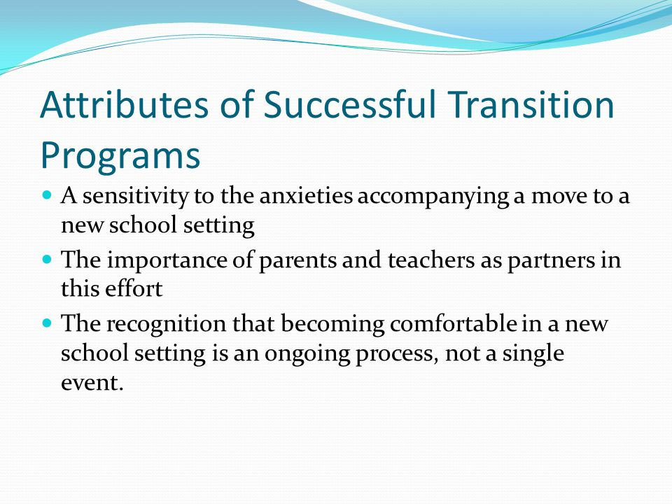 Attributes of Successful Transition Programs