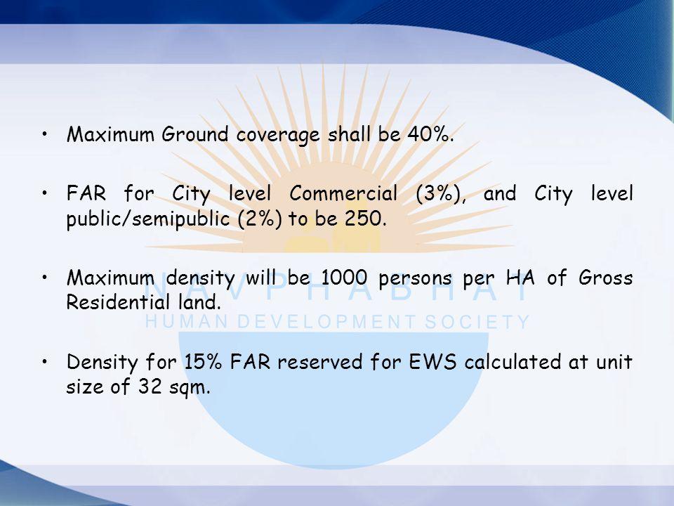 Maximum Ground coverage shall be 40%.