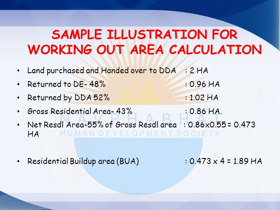 SAMPLE ILLUSTRATION FOR WORKING OUT AREA CALCULATION