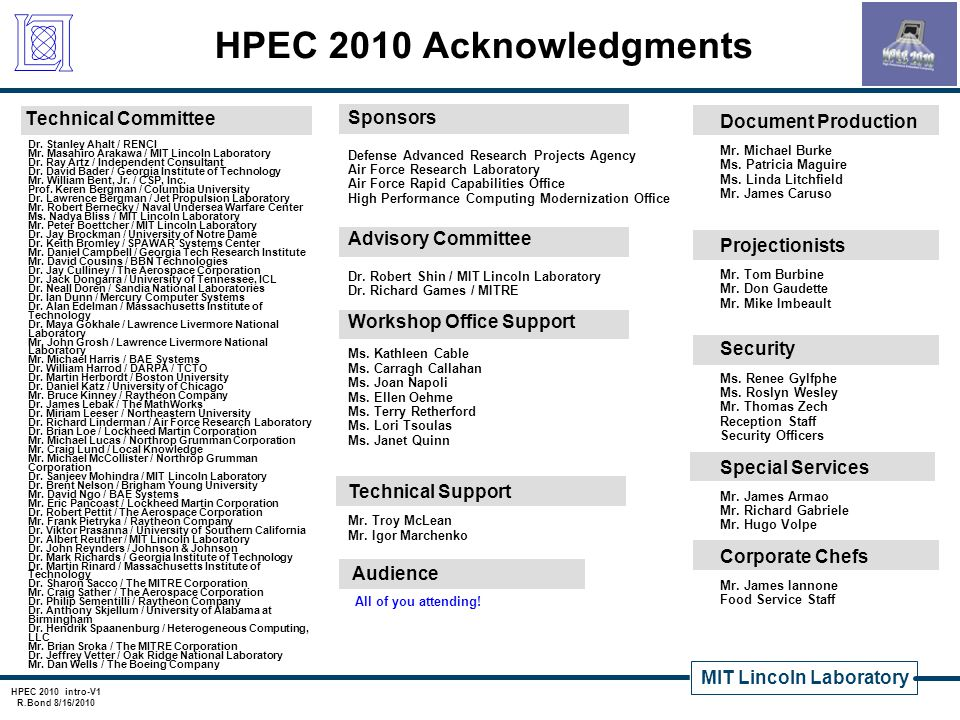 HPEC 2010 Acknowledgments Technical Committee Sponsors