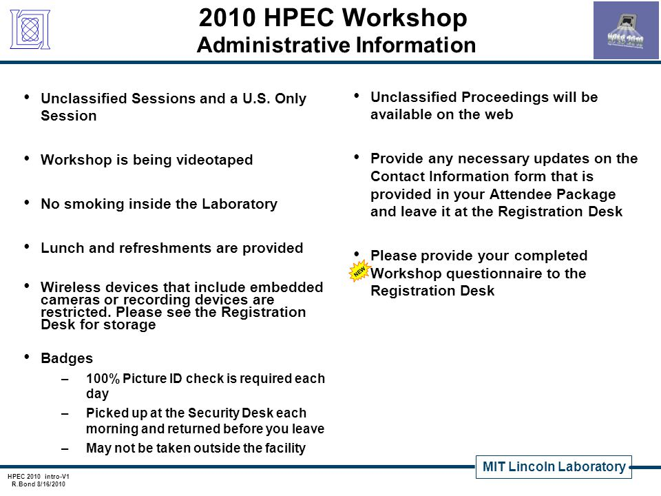 2010 HPEC Workshop Administrative Information