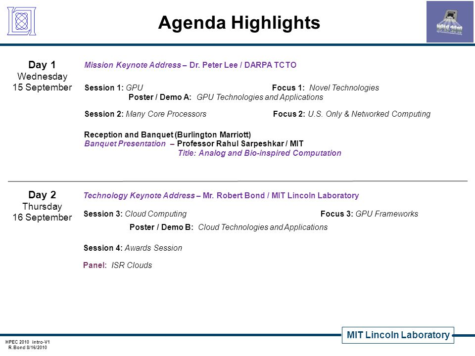 Agenda Highlights Day 1 Day 2 Wednesday 15 September Thursday