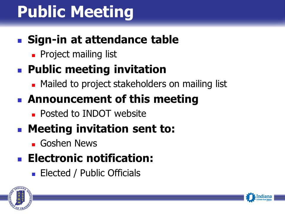 Public Meeting Sign-in at attendance table Public meeting invitation