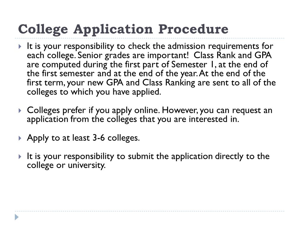 College Application Procedure