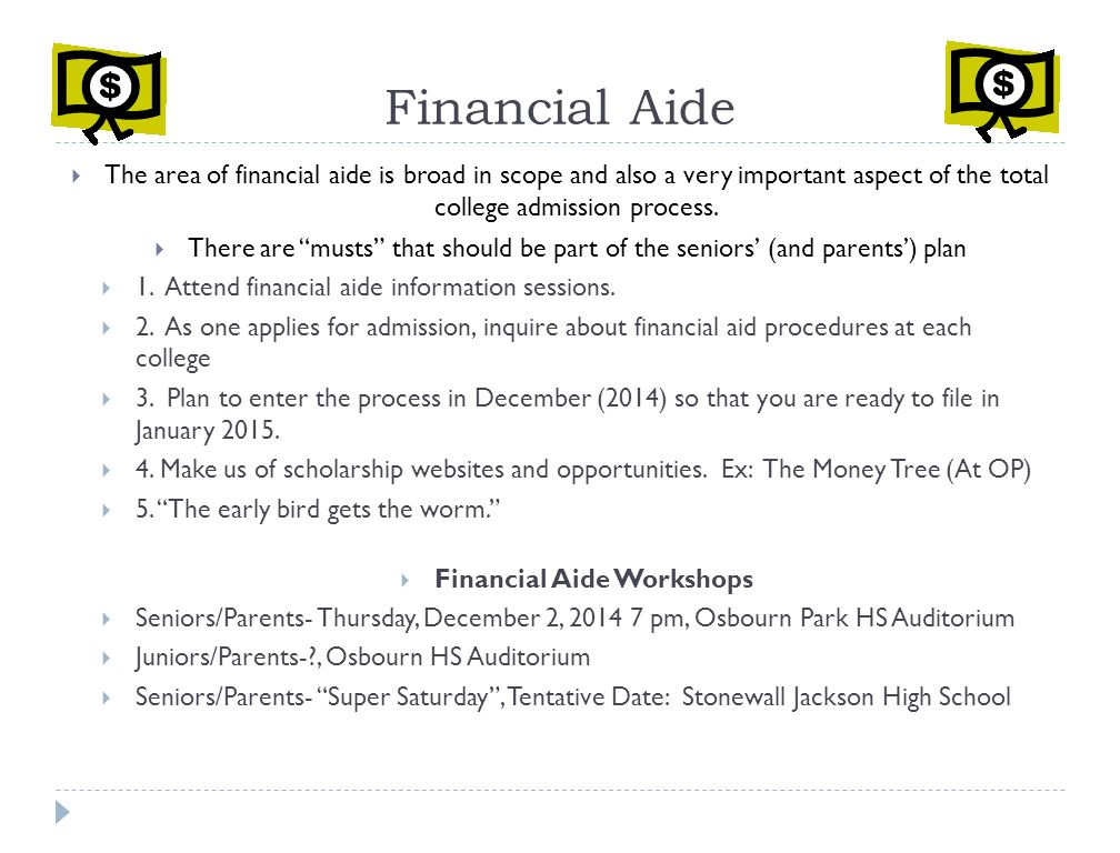 Financial Aide Workshops