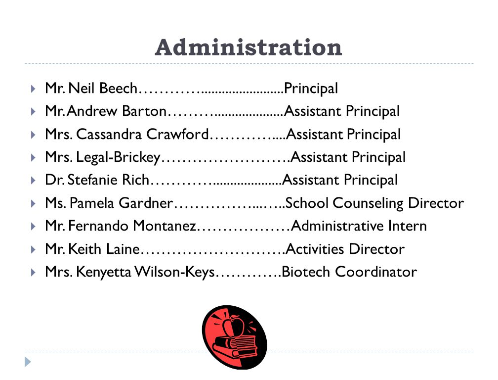 Administration Mr. Neil Beech…………........................Principal