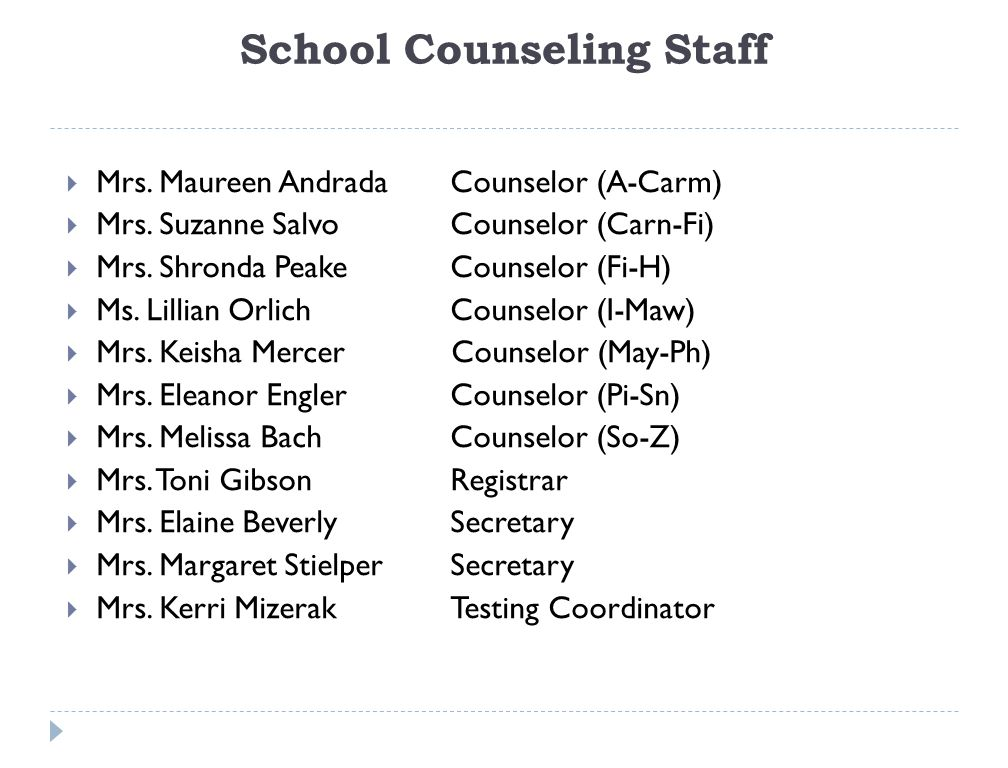 School Counseling Staff