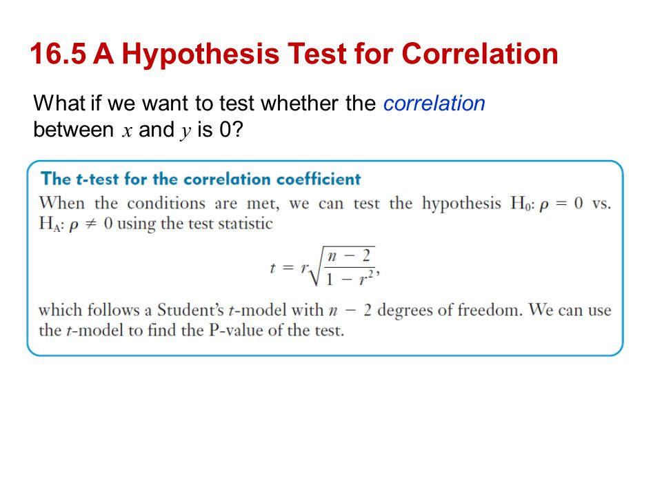 16.5 A Hypothesis Test for Correlation
