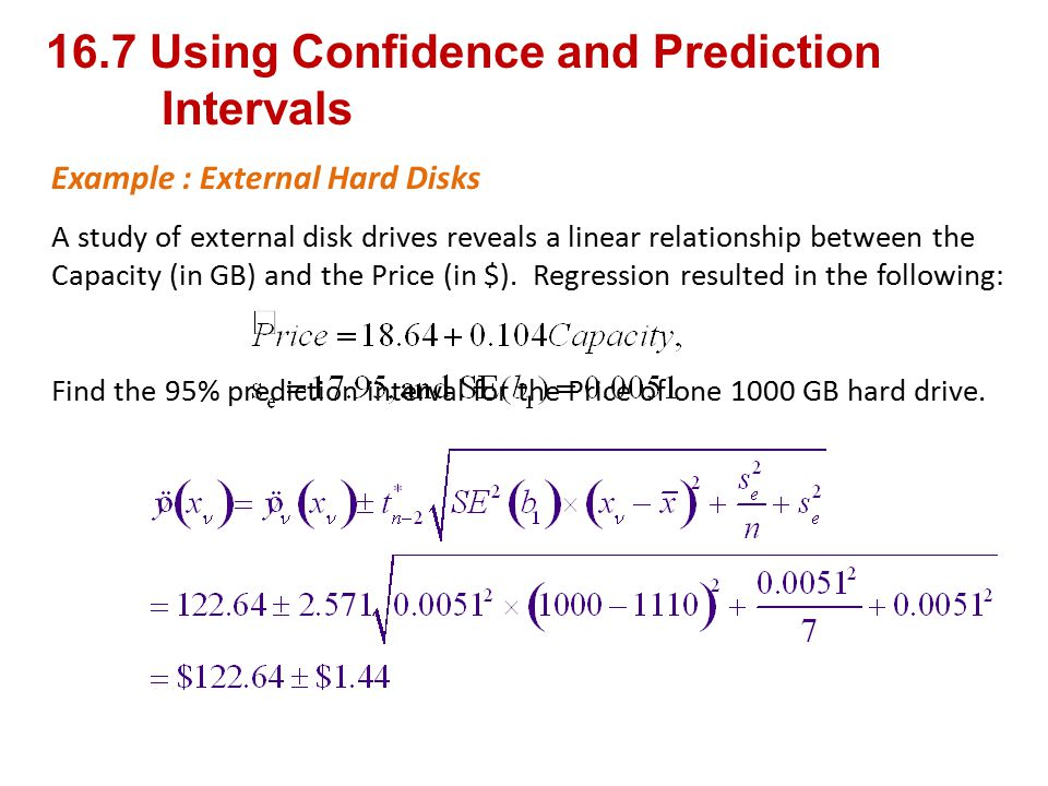 16.7 Using Confidence and Prediction Intervals