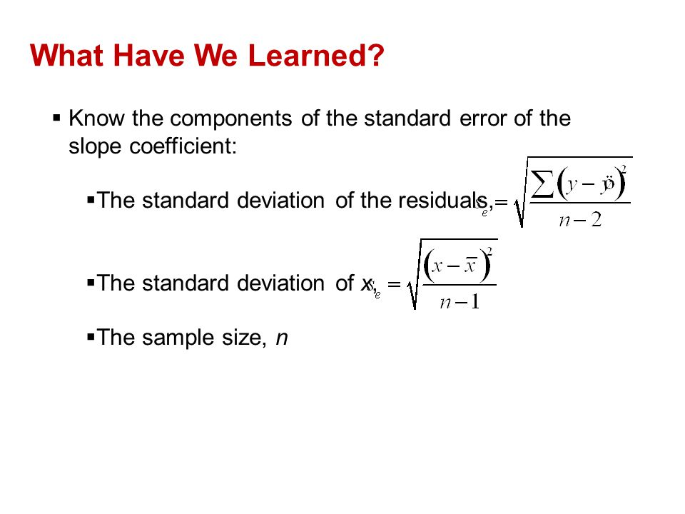 QTM1310/ Sharpe What Have We Learned Know the components of the standard error of the slope coefficient: