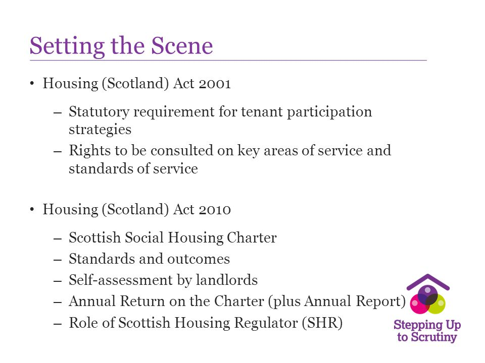 Setting the Scene Housing (Scotland) Act 2001
