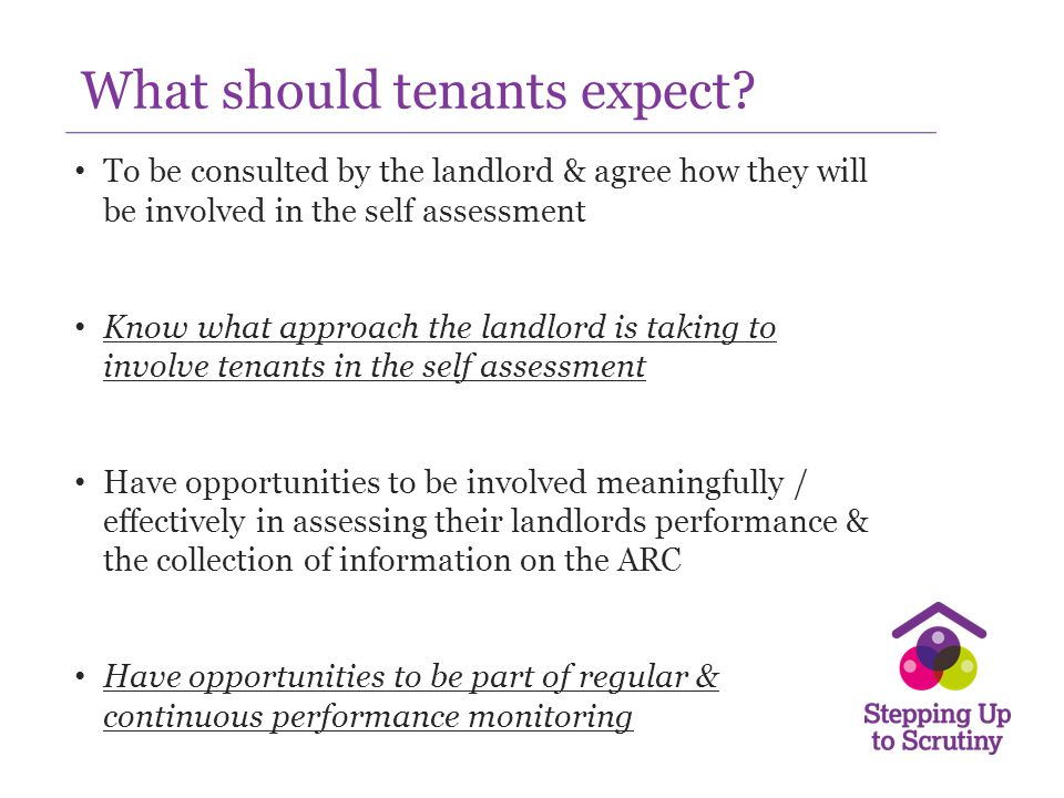 What should tenants expect