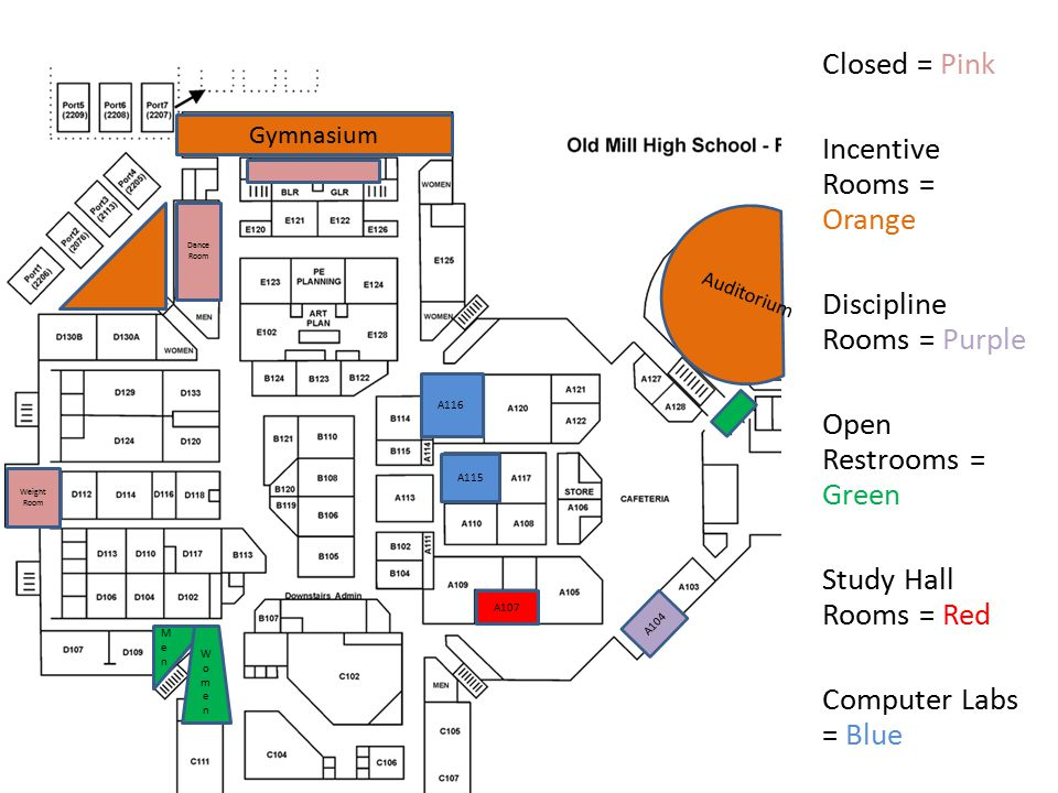 Closed = Pink Incentive Rooms = Orange Discipline Rooms = Purple Open Restrooms = Green Study Hall Rooms = Red Computer Labs = Blue