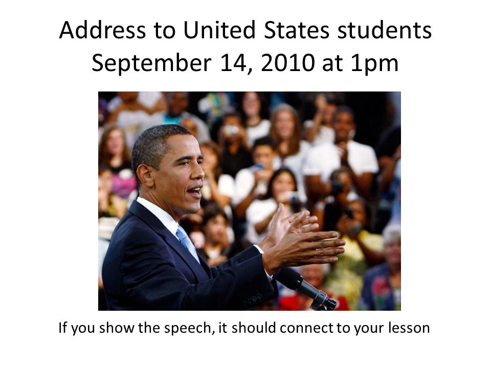Address to United States students September 14, 2010 at 1pm