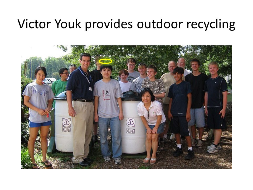 Victor Youk provides outdoor recycling