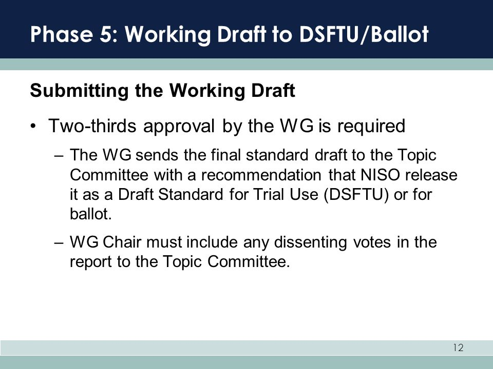 Phase 5: Working Draft to DSFTU/Ballot