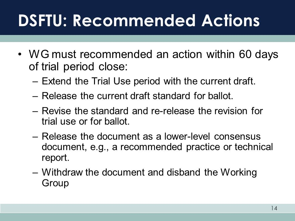 DSFTU: Recommended Actions