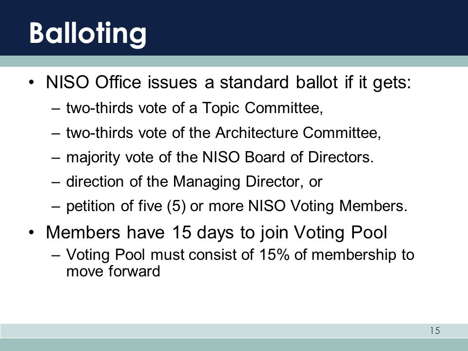 Balloting NISO Office issues a standard ballot if it gets: