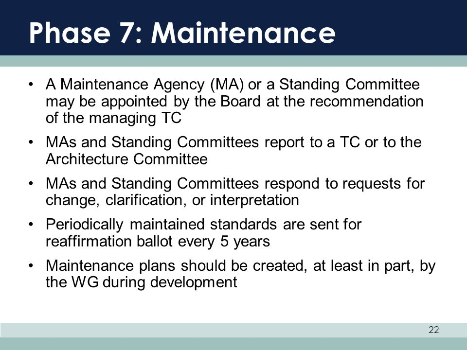 Phase 7: Maintenance A Maintenance Agency (MA) or a Standing Committee may be appointed by the Board at the recommendation of the managing TC.