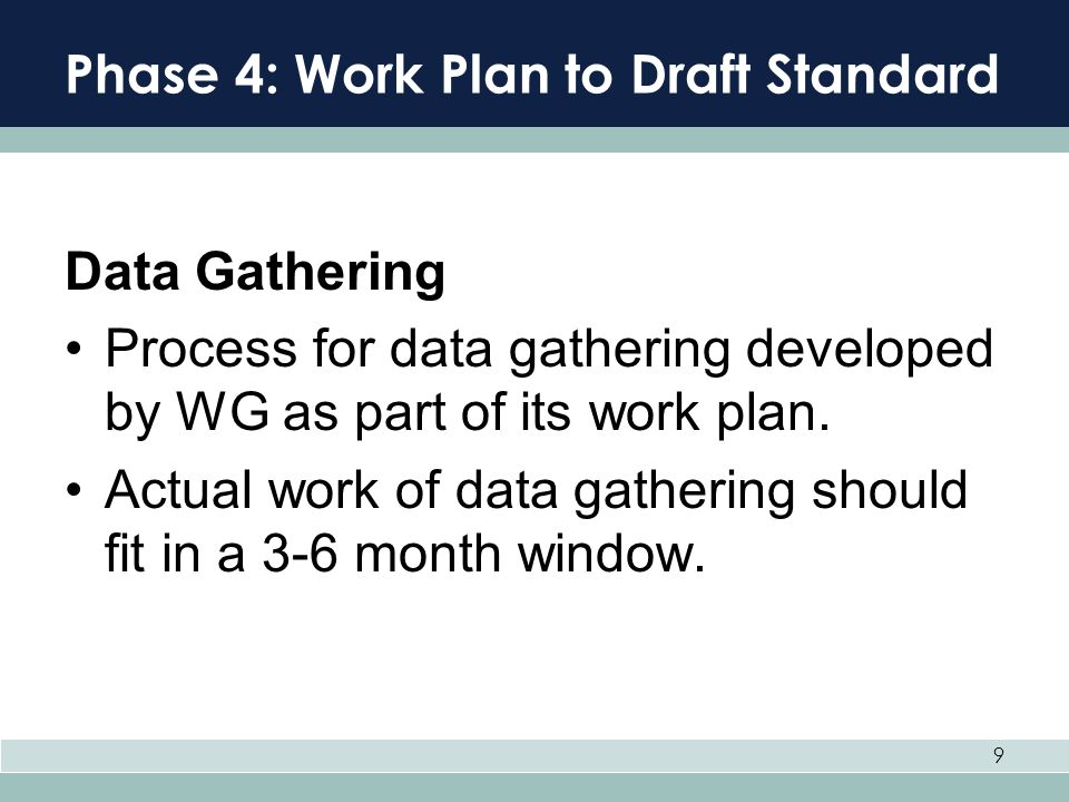 Phase 4: Work Plan to Draft Standard