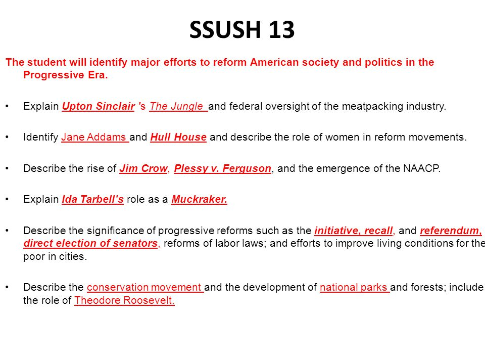 SSUSH 13 The student will identify major efforts to reform American society and politics in the Progressive Era.