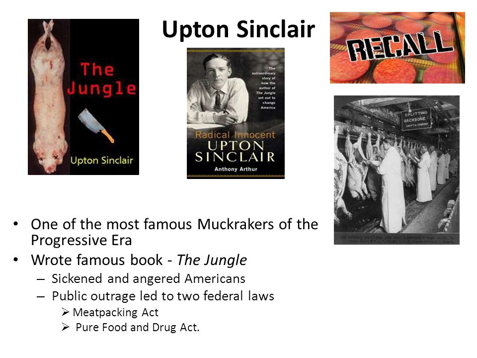 Upton Sinclair One of the most famous Muckrakers of the Progressive Era. Wrote famous book - The Jungle.