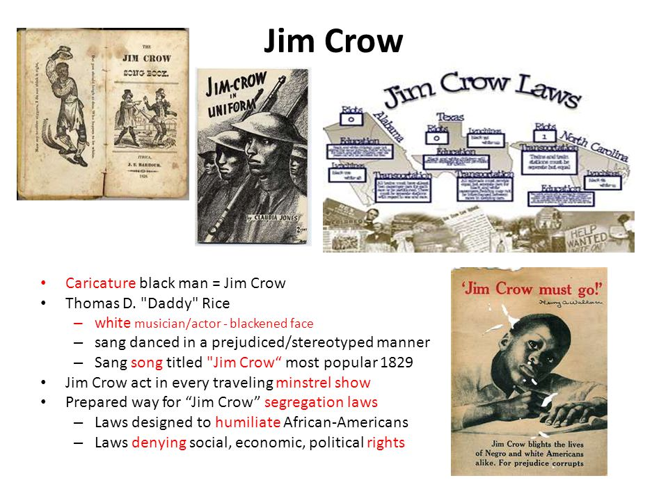 Jim Crow Caricature black man = Jim Crow Thomas D. Daddy Rice