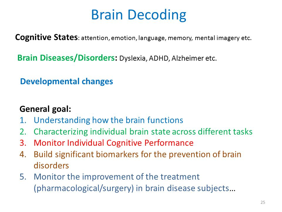 Brain Decoding Cognitive States: attention, emotion, language, memory, mental imagery etc. Brain Diseases/Disorders: Dyslexia, ADHD, Alzheimer etc.