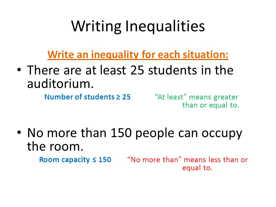 Write an inequality for each situation: