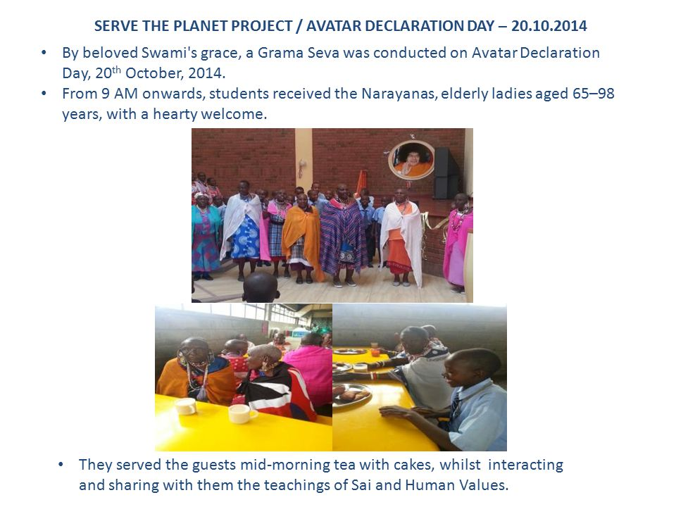 SERVE THE PLANET PROJECT / AVATAR DECLARATION DAY – 20.10.2014
