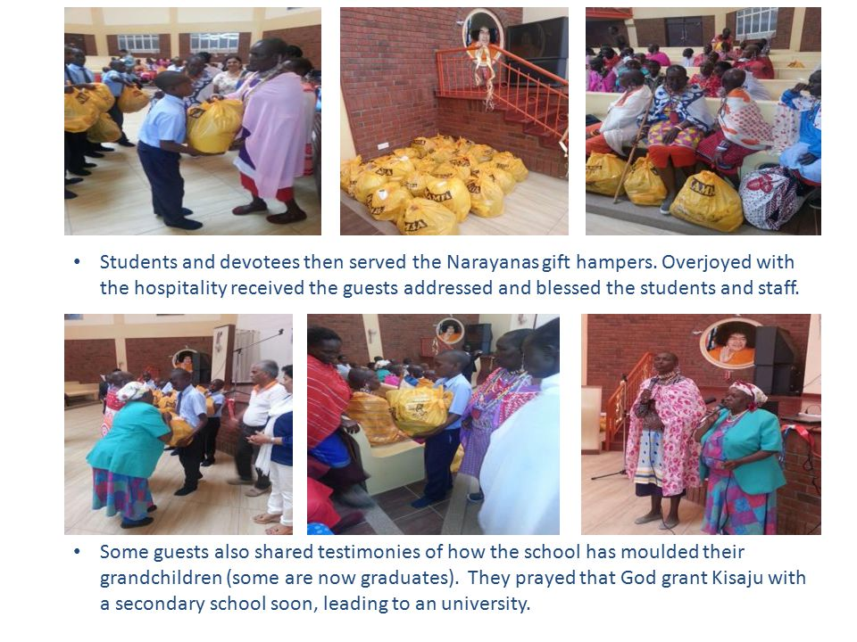 Students and devotees then served the Narayanas gift hampers