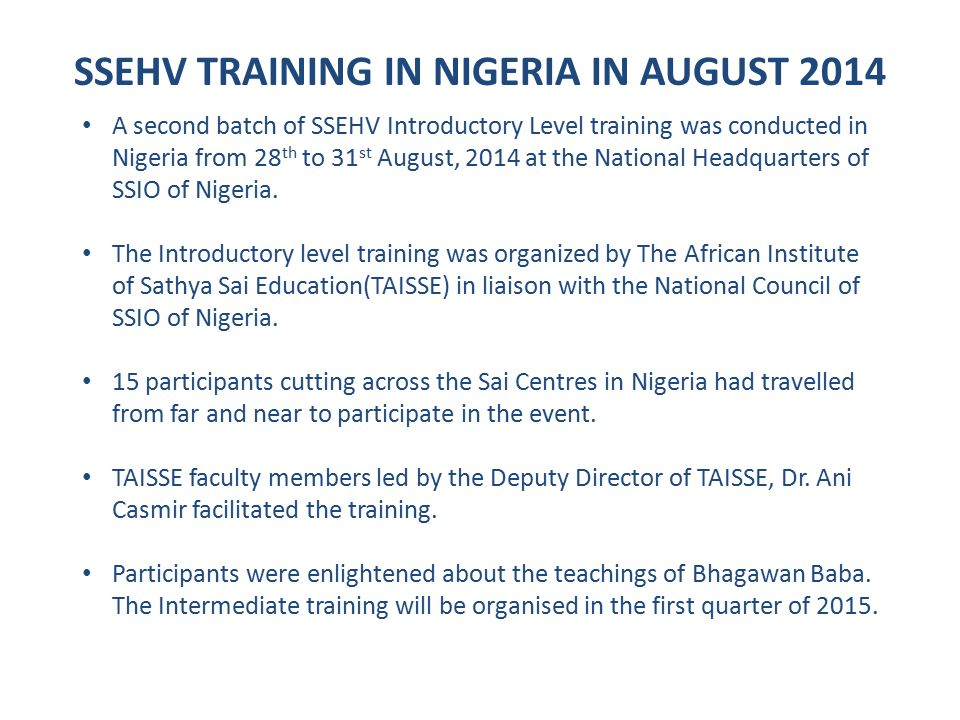 SSEHV TRAINING IN NIGERIA IN AUGUST 2014